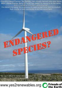 "yes2renewables.org campaign poster ""Endangered species?"""