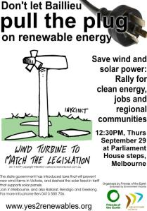 Poster: rally for wind and solar energy