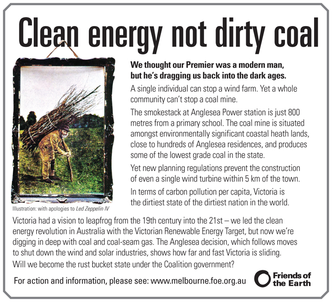 Clean energy not dirty coal for Anglesea