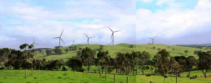 Yarram wind farm Photomontage