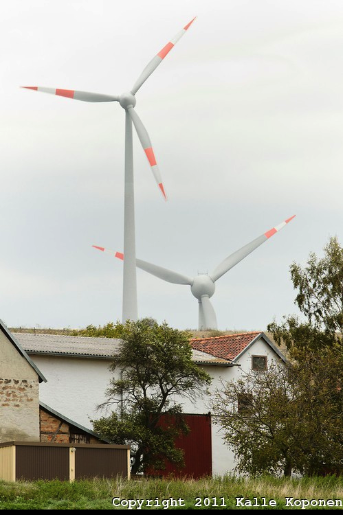 Europe turbines near house