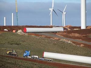 Bluff Range wind farm under construction. Image source: Dave Clarke