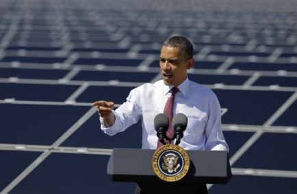 President Barack Obama speaks after touring Sempra's Copper Mountain Solar 1 facility, Wednesday, March 21, 2012, in Boulder City, Nev. CREDIT: AP PHOTO/JULIE JACOBSON