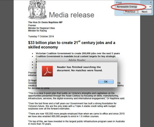 Premier's Jobs Plan