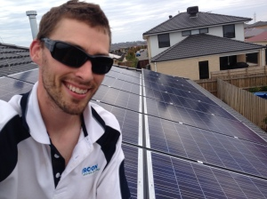 Dan looking very happy with the Cowdell family's new solar system
