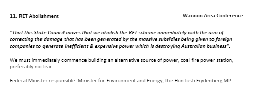 Liberal Conference Motion to abolish RET